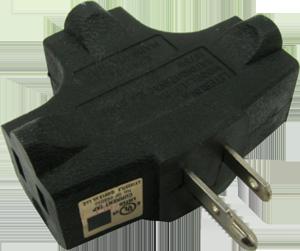 Triple Tap Adapter, one male, three female plugs-Black